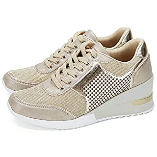 Gold High Heeld Wedge Sneakers for Women - Ladies Hidden Sneakers Lace Up Shoes, Best Chioce for Casual and Daily Wear SM1-GOLD-6