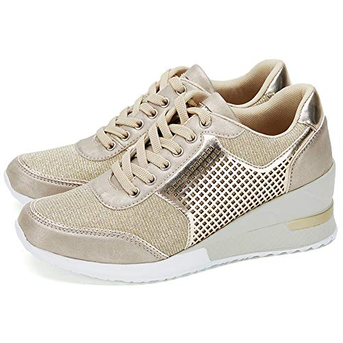 Gold Shoes Platform - High Heeld Wedge Sneakers for Women - Ladies Hidden Sneakers Lace Up Shoes, Best Chioce for Casual and Daily Wear SM1-GOLD-6.5