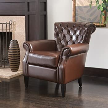 brown tufted leather club chair rolled arms back red swivel french chairs for sale brexley recliner in black