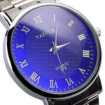 Fashion relojes 278 Yazole reloj de par de acero inoxidable azul Ray Cristal Cuarzo Analógico muñeca