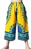 RaanPahMuang Branded Elastic Waist Casual African Dashiki Shorts 3/4 Leg Capri, Medium, Poppy Yellow