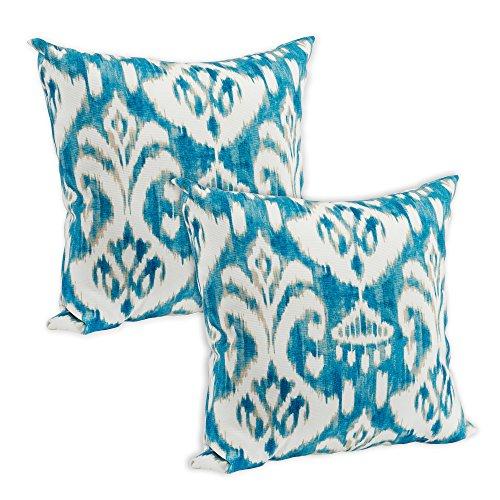 Rivoli Waterside Ikat Bright Blue 16 x 16 Indoor Outdoor Throw Pillow - Pack of 2 (Blue Fabric Ikat Outdoor)