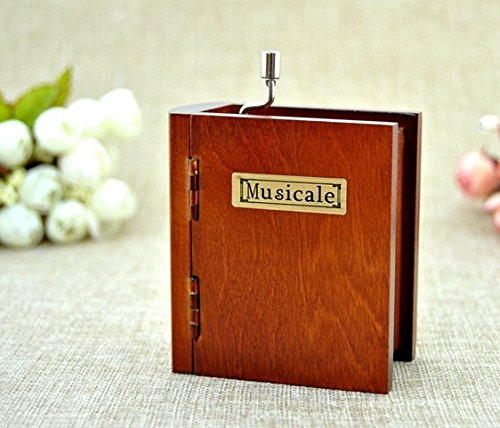 (Neilshop © Book style Wooden Music box hands crank metal spring tune Swan Lake holiday lovers gift …)