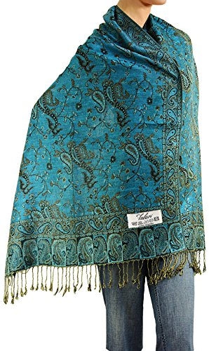 Peacock Shawl Scarf - Falari Women's Woven Paisley Pashmina Shawl Wrap Scarf 80