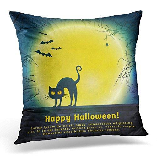 Sdamase Throw Pillow Cover Happy Halloween with Full Moon and Evil Cat Spooky Night with Copy Space for Greetings Promo Text Decorative Pillow Case Home Decor Pillowcase 18