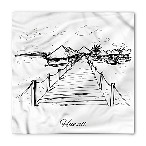 Hawaiian Bandana by Lunarable, Sketch Style Hawaii Dock Tiki Huts Bungalows Tropical Trees Beachy Boho Design, Printed Unisex Bandana Head and Neck Tie Scarf Headband, 22 X 22 Inches, Black - Huts Hawaii