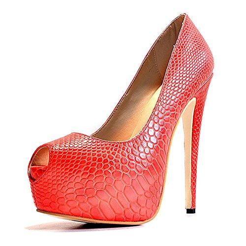 MerMer Sexy Zapatos de tacon Alto Rojo Serpentine con plataforma y poca de pez de Moda