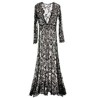Amazon.com: Fedi Apparel White Lace Vestidos V Neck Long