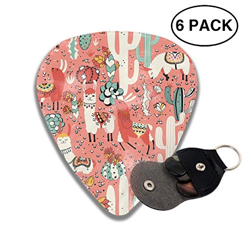 Lama In Cactus Jungles Celluloid Guitar Picks 3 D Print Cool 6pcs 0.46mm 0.71mm And 0.96mm -