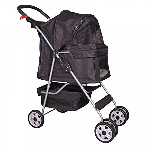 4 Wheels Pet Stroller Cat Dog Cage Stroller Travel Folding Carrier 5 Color 04T by BestPet
