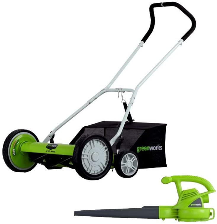 5. Greenworks 18-Inch Reel Lawn Mower 25062 + 7 AMP Blower 24012