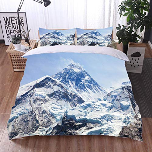 (VROSELV-HOME Modern Pattern Printed Duvet Cover,View of top of Mount Everest from Kala Patthar,Soft,Breathable,Hypoallergenic,Soft Microfiber Bedspread Coverlet)