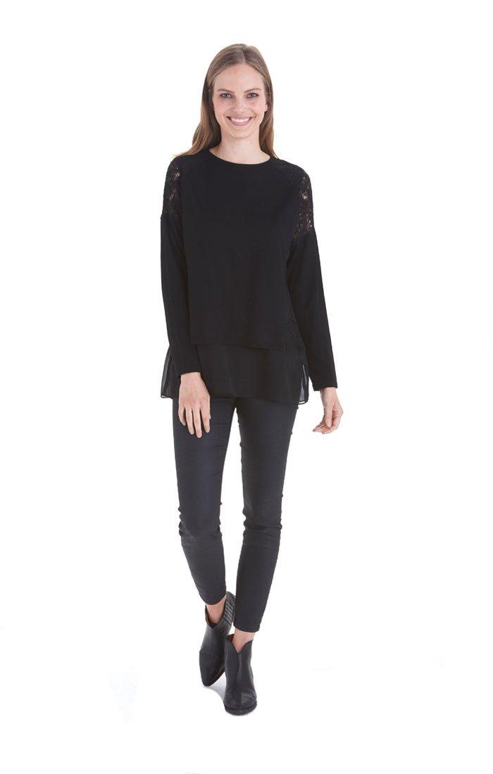 Love Token Evangeline Layer Sweater - LT77-61 (Medium, Black)