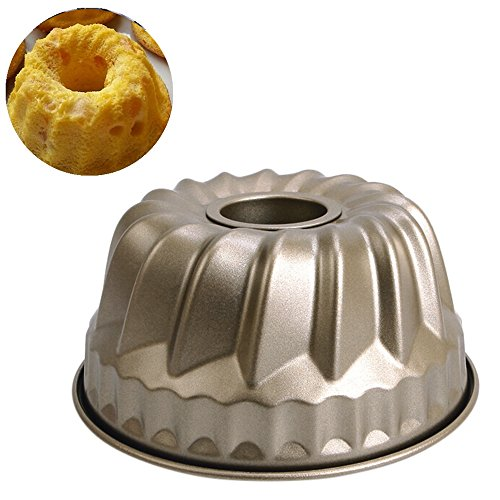 Hometom Nonstick Cake Pans, Non-Stick Pineapple Chiffon Bakeware mold Carbon Steel Fluted Cake Baking Pan (B)
