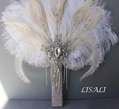 LISALI Crystal Luxury Bridal Ostrich Feather Bouquet, Bride Feather Fan,  Bridal Brooch Bouquet, 20s Great Gatsby Vintage Wedding Bouquet