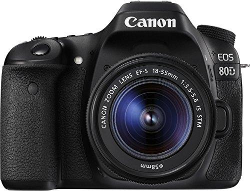 Canon EOS 80D SLR-Digitalkamera (24,2 Megapixel, 7,7 cm (3 Zoll) Display, DIGIC 6 Bildprozessor, NFC und WLAN, Full HD) Kit inkl. EF-S 18-55mm 1:3,5-5,6 IS STM schwarz