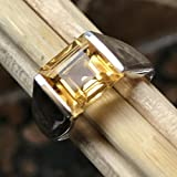 Natural 2ct Golden Citrine 925 Solid Sterling Silver Princess Cut Men's Ring sz 8,10, 11, 13
