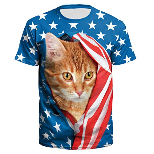 New Men USA Flag T-Shirt Sexy 3D Print Short Sleeve Shirt Striped Cat Tops -