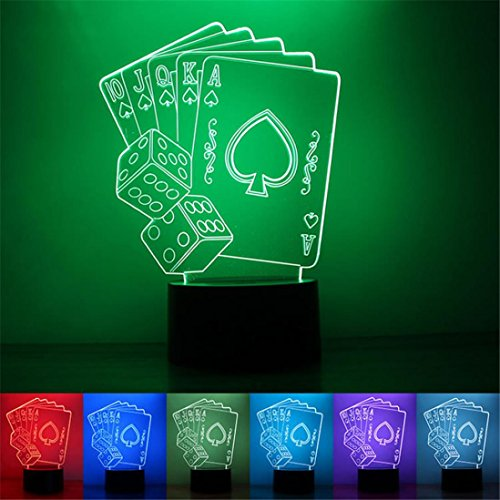 (3D Optical Illusion LED Night 7 Colors Change Magic Touch Night Light For Home Bedroom Pubs Bars Cafes Restaurants Halloween Christmas Decor With Cable by PENATE (Poker)