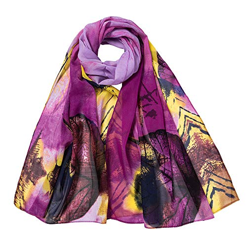 LIULIULIU Fashion Fantasy Women Leaves Printing Long Soft Wrap Scarf Ladies Shawl Scarves (Purple)