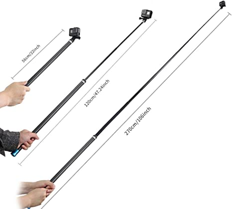 TELESIN Super largo selfie stick ligero alta tenacidad de fibra de carbono extensible Handheld Monopod para GoPro 5/4/3+/3/2/1 Cámara Digital/período de sesiones y más de la cámara digital: Amazon.es: Electrónica