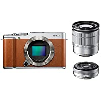 Fujifilm 16.3 Million Pixel FX-m1s/1650/27kit Fujifilm Digital Single-lens Camera X-m1 W Lens Kit Zoom Lens Attached (Brown) - International Version (No Warranty)