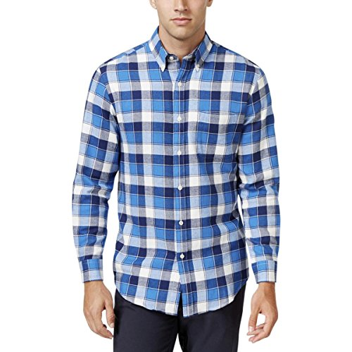 John Ashford Mens Plaid Cuff Sleeves Western Shirt Blue (Sleeve Western Plaid Shirt)