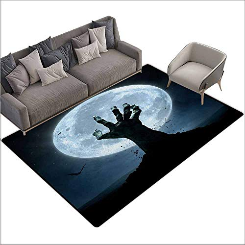 Bath Rug Slip Halloween Realistic Zombie Earth Soil Full Moon Bat Horror Story October Twilight Themed Suitable for Outdoor and Indoor use W70 xL82 Blue Black