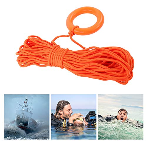 Dioche Water Lifesaving Rope, Outdoor Floating Lifeline Water Rescue Lifeguard Rope with Hand Ring 30m