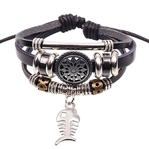 Winter's Secret Fishbone Alloy Pendant Beads Silver Tone Tube Black Leather Unisex Wrap Bracelet - Measuring Ruler Costume