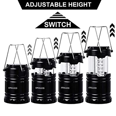 APOLLED Camping Lantern, 30-LED Collapsible Lantern with 6 AA Batteries, Survival Kit for Outdoor Camping, Emergency, Hurricane, Power Outage (Black, 2 Pack)