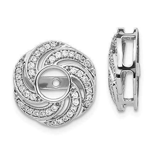 14K White Gold Diamond Love Knot Earring Jackets 4.50 mm Opening for Stud Earrings (0.324Cttw)