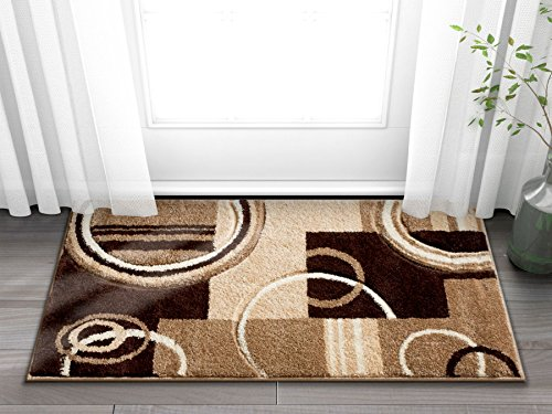 Echo Shapes Circles Ivory Beige Brown Modern Geometric Comfy Casual Hand Carved 2x3 (2' x 3') Area Rug Easy to Clean Stain Fade Resistant Abstract Contemporary Thick Soft Plush Living Dining Room Rug (Contemporary Rugs Area Clearance)