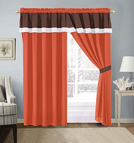 4 Piece Color Block Orange / White / Grey Grommet Curtain set