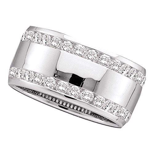 - Jewels By Lux 14kt White Gold Womens Round Channel-Set Diamond Double Row Wedding Band 1/2 Cttw Ring Size 7