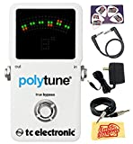 TC Electronic PolyTune 2 Guitar Tuner Pedal Bundle with 9V Power Adapter, Gearlux Instrument Cable, Patch Cable, Picks, and Polishing Cloth
