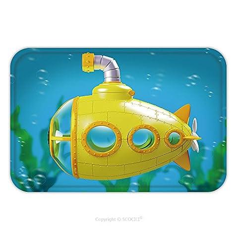 Flannel Microfiber Non-slip Rubber Backing Soft Absorbent Doormat Mat Rug Carpet Cartoon Yellow Submarine Side View Under Water D Illustration 555829630 for - Echelon Echelon Shower Locker