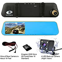 TENNBOO FHD Mirror Car Dash Cam Front and Rear Dual Lens Dashboard Recorder,4.3 LCD Screen In Car Recording Video DVR G-Sensor,Parking Mode,Loop Recording Gold ,8GB TF Card Included