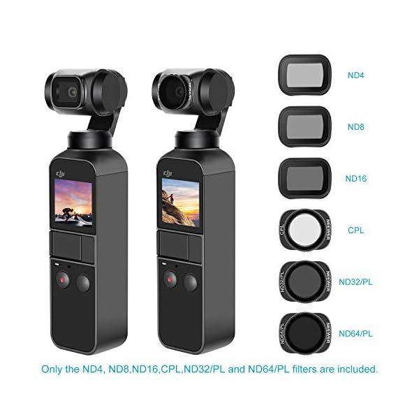 Neewer Filtri Magnetici per DJI Osmo Pocket 2/1 Fotocamera Lenti Include Filtri ND4 ND8 ND16 CPL ND32/PL ND64/PL Multi-Rivestiti con Scatola per Fotografia Esterna(Nero) 5 spesavip