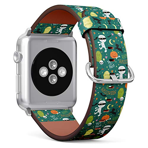 R-Rong iWatch Leather Replacement Strap Compatible with Apple Watch Series 4/3/2/1 Sport Edition 42/44mm - Cute Mummy, RIP, Black cat, bat and Pumpkin Halloween Elements]()