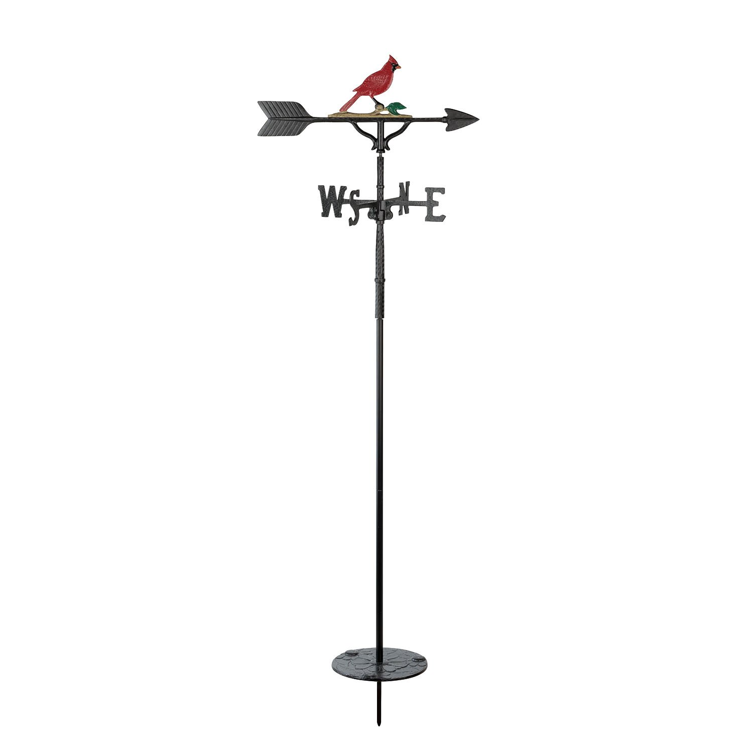 Montague Metal Products 60'' Garden Natural Color Cardinal Garden Stake Weathervane by Montague Metal Products