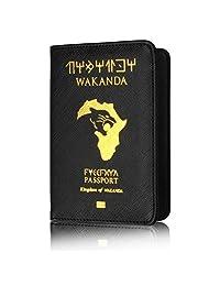 Kingdom of Wakanda - Funda para pasaporte (piel sintética, con bloqueo, para tarjetas de crédito, documentos de identificación y documentos de viaje), color negro, A, 14.2 * 9.8 * 0.5 cm