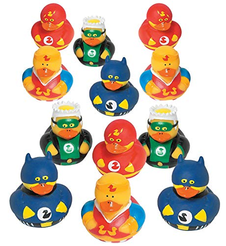 Superhero Ducks 2 Inches - Pack of 12 – Assorted Colorful Superhero Rubber Duckies - for Kids Great Party Favors, Bag Stuffers, Fun, Bathtub Toys, Gift, Prize - by Kidsco ()