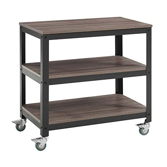 Modway Vivify Industrial Modern Three Tiered Serving Stand Rolling Cart with Locking Casters in Gray Walnut - VINTAGE SERVING STAND - Industrial form and rustic detail come together to create a vintage modern stand for the home. The metal and walnut grained veneer create a charming cottage or farmhouse style MULTI-FUNCTIONAL - A welcome addition to almost any room, Vivify's versatile design makes it perfect for extra storage space in the kitchen, as a living room stand, or as a dining room serving cart STURDY CONSTRUCTION - Sitting atop 360 swivel casters with brake locking, Vivify features a heavy-duty steel frame that supports durable MDF shelves, creating the perfect indoor plant or display stand - tv-stands, living-room-furniture, living-room - 51j6UqLf3EL. SS570  -