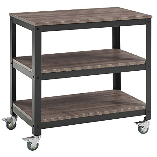 Modway Vivify Industrial Modern Three Tiered Serving Stand With Locking Casters