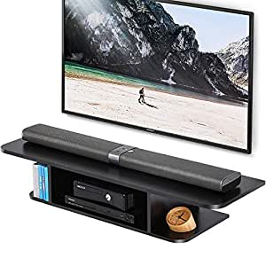 FITUEYES Floating TV Stand Cabinet,Wall Mounted AV Shelf Entertainment Unit,Black DS210501WB