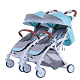 Double Stroller Pushchair, Easy Compact Folding Sport Stroller Baby Buggy One Step Design for Opening Folding with Rain Cover Cup Holder Hooks Lightweight, Blue