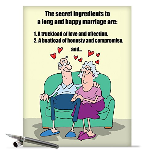 J9780 Jumbo Funny Anniversary Card: Marriage Secrets With Envelope (Extra Large Version: 8.5'' x 11'')