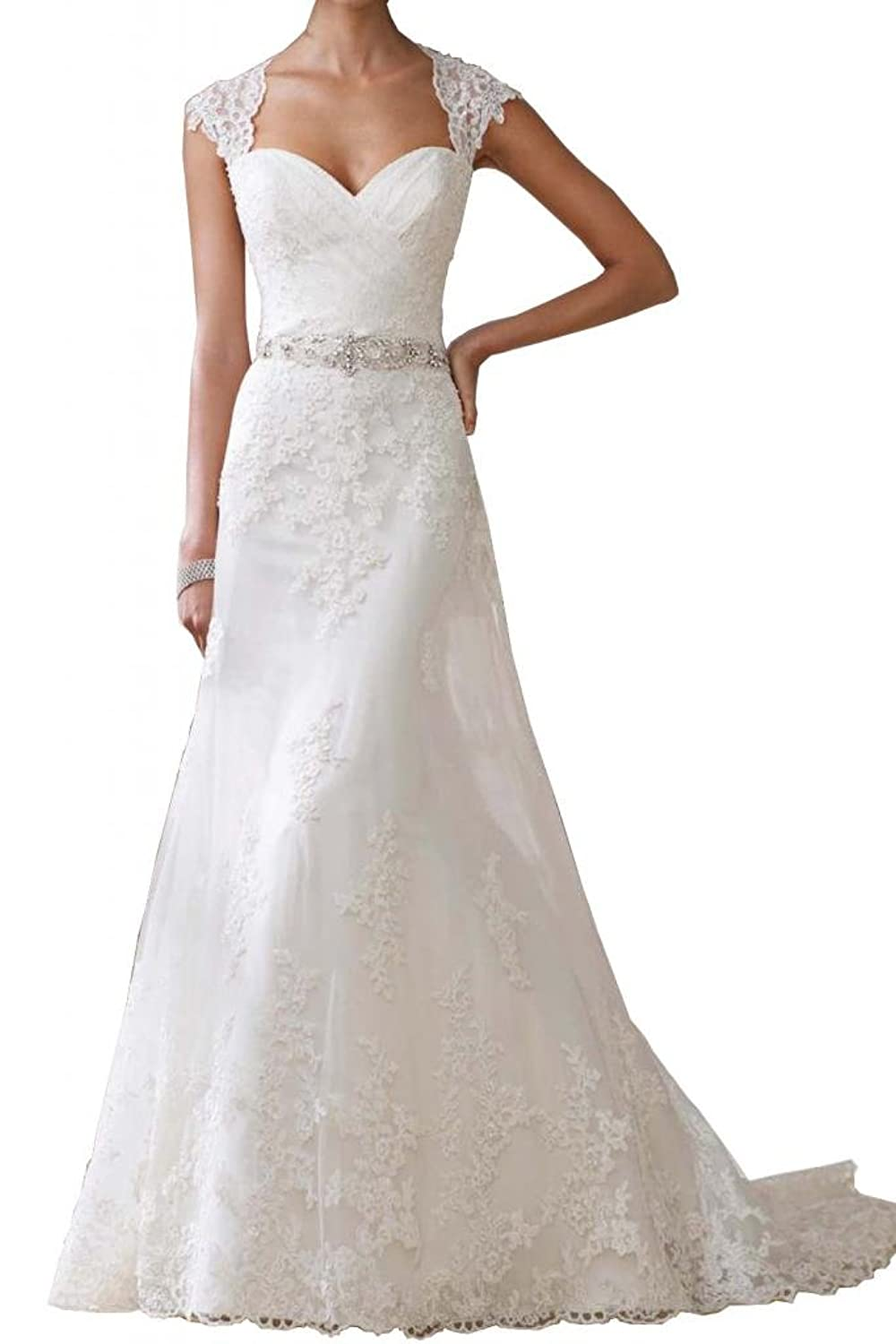 MILANO BRIDE Empire Wedding Dress For Women Sweetheart A-line Lace ...