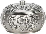 Cinzeiro retrô, cinzeiro de metal à prova de vento com tampa, porta-cinzas artesanal enfeites de decoração par
